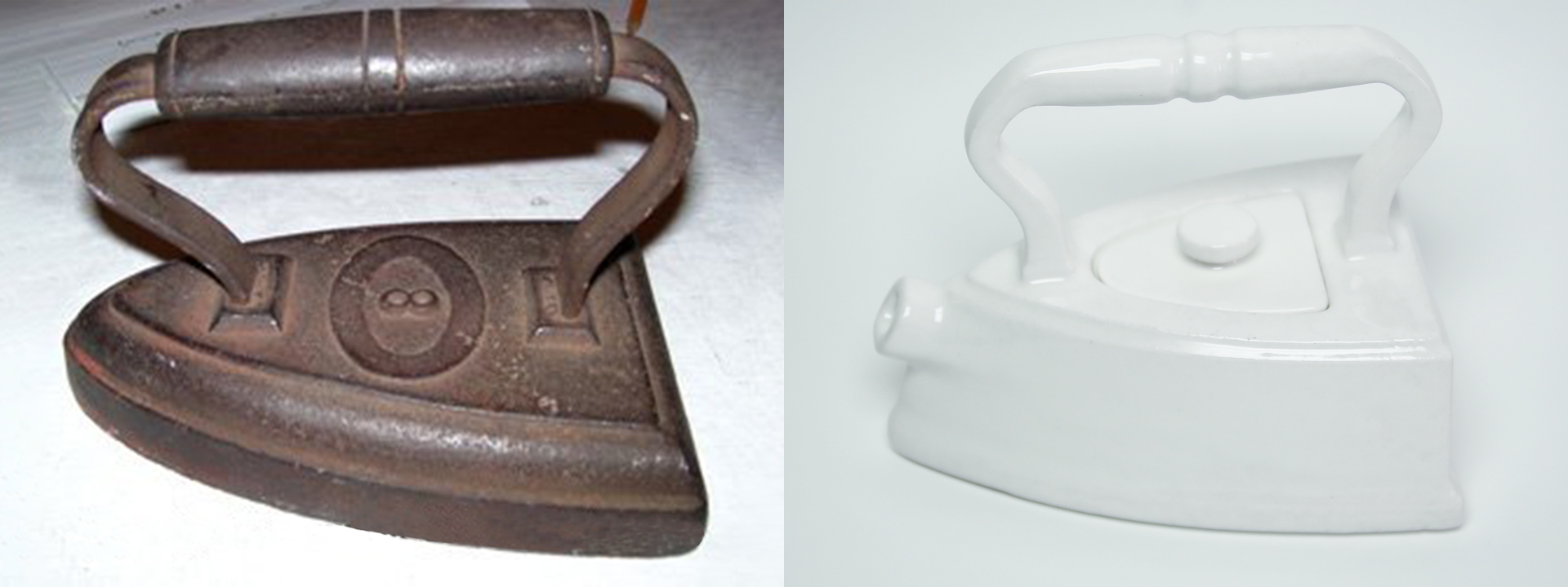 On left, a traditional iron. On right, a tea pot inspired by a traditional iron.